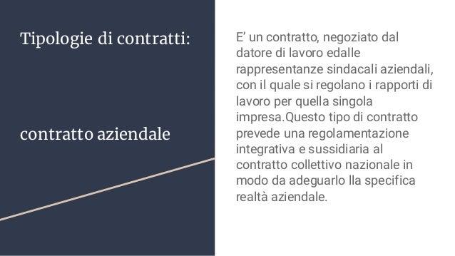 Tipologie di contratti: contratto aziendale E' un contratto, negoziato dal datore di lavoro edalle rappresentanze sindacal...