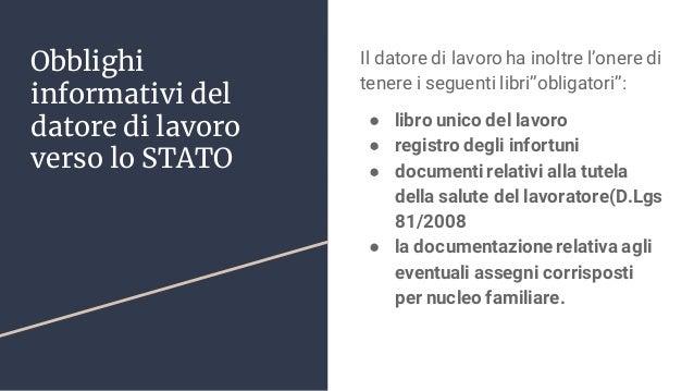 Obblighi informativi del datore di lavoro verso lo STATO Il datore di lavoro ha inoltre l'onere di tenere i seguenti libri...