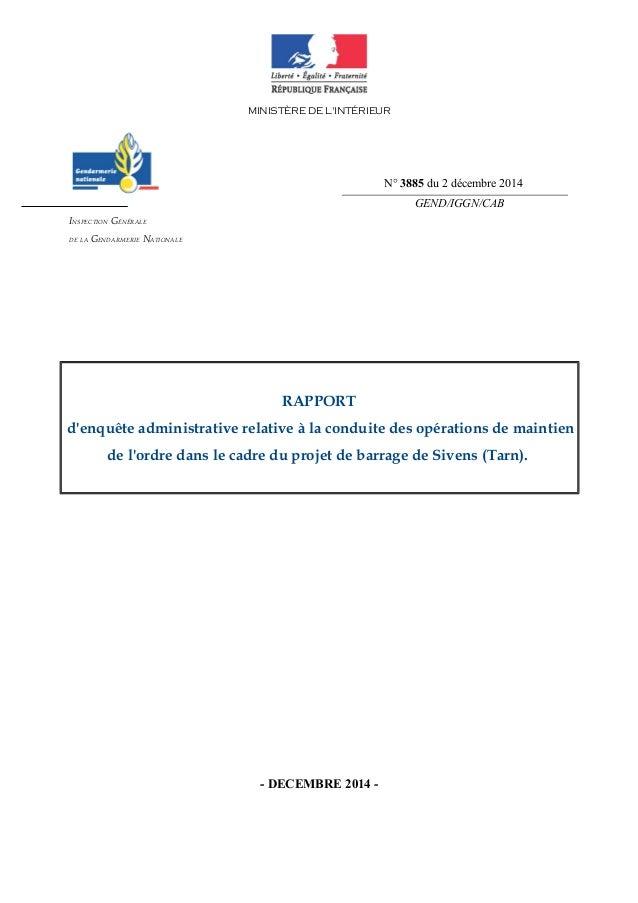 MINISTÈRE DE L'INTÉRIEUR  GEND/IGGN/CAB  INSPECTION GÉNÉRALE  DE LA GENDARMERIE NATIONALE  RAPPORT  d'enquête administrati...