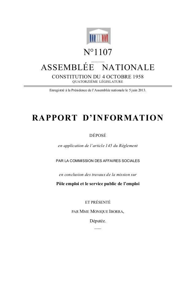 N°1107______ASSEMBLÉE NATIONALECONSTITUTION DU 4 OCTOBRE 1958QUATORZIÈME LÉGISLATUREEnregistré à la Présidence de l'Assemb...