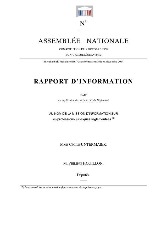 N° ______ ASSEMBLÉE NATIONALE CONSTITUTION DU 4 OCTOBRE 1958 QUATORZIÈME LÉGISLATURE Enregistré à la Présidence de l'Assem...