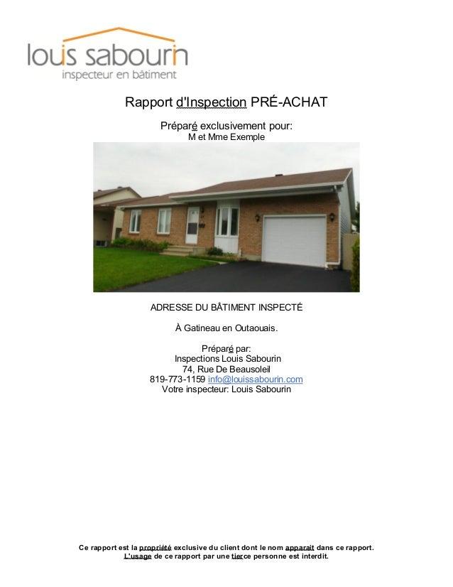 Ce rapport est la propriété exclusive du client dont le nom apparait dans ce rapport. L'usage de ce rapport par une tierce...