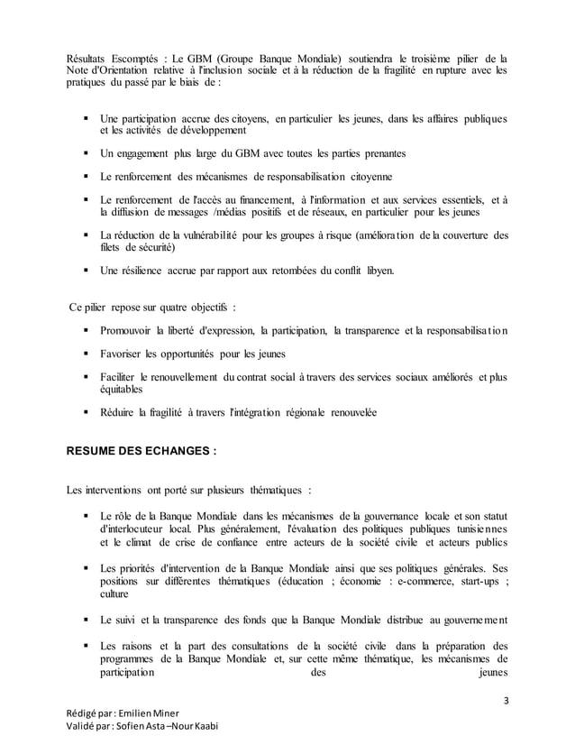 3 Rédigé par: EmilienMiner Validé par: SofienAsta–NourKaabi Résultats Escomptés : Le GBM (Groupe Banque Mondiale) soutiend...