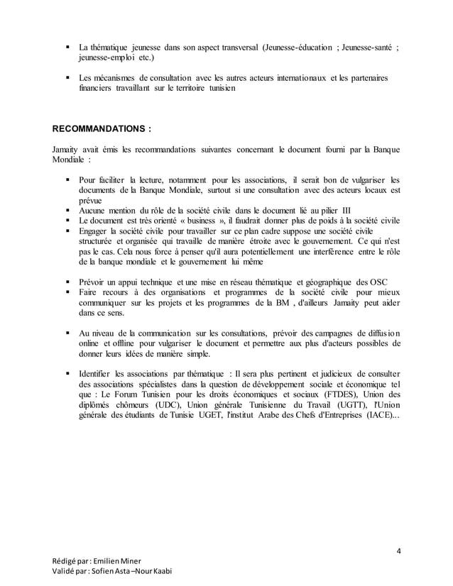 4 Rédigé par: EmilienMiner Validé par: SofienAsta–NourKaabi  La thématique jeunesse dans son aspect transversal (Jeunesse...