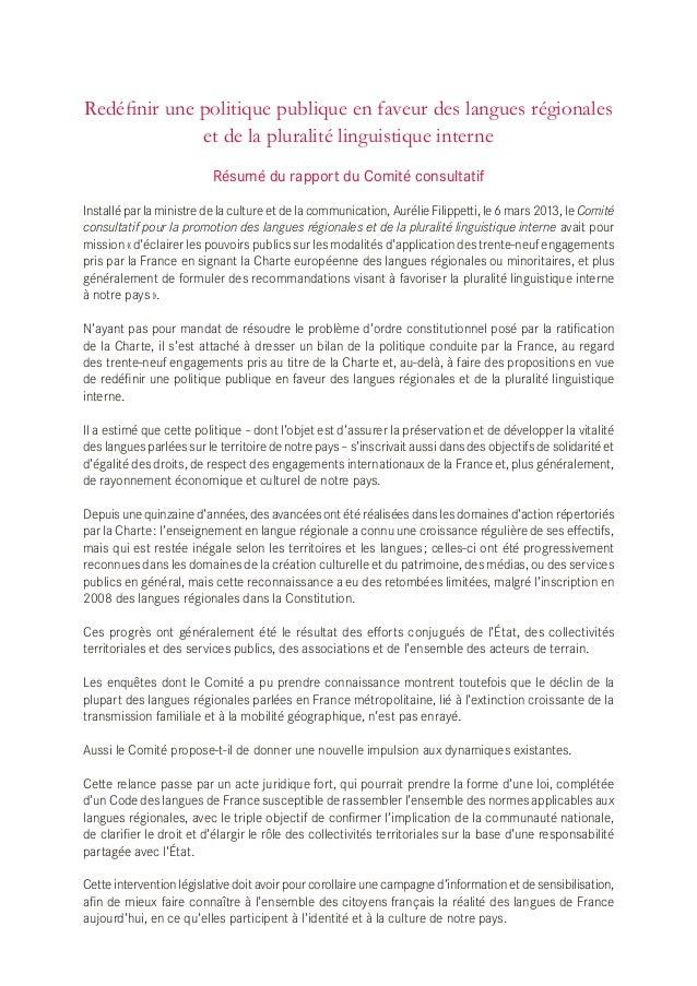 Redéfinir une politique publique en faveur des langues régionales et de la pluralité linguistique interne Résumé du rappor...