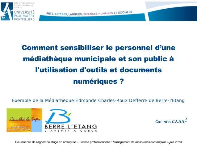 Comment sensibiliser le personnel d'une médiathèque municipale et son public à l'utilisation d'outils et documents numériq...