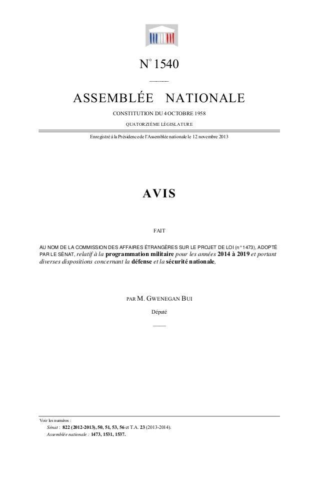 — 1 —  N° 1540 ______  ASSEMBLÉE NATIONALE CONSTITUTION DU 4 OCTOBRE 1958 QUATORZIÈME LÉGISLATURE  Enregistré à la Préside...