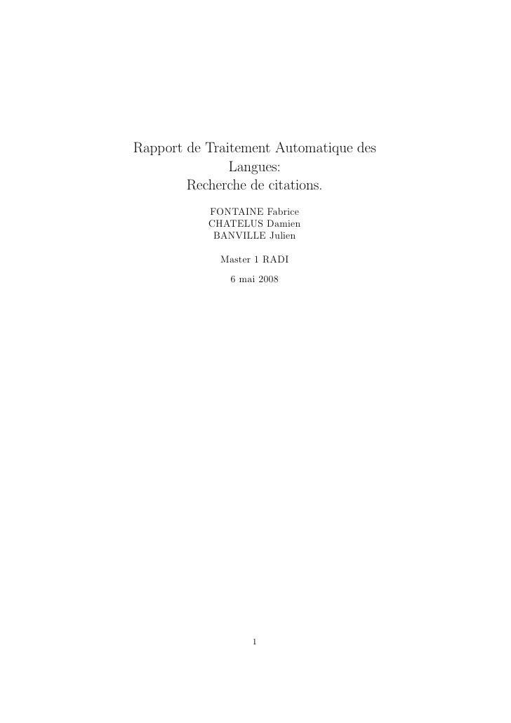 Rapport de Traitement Automatique des                Langues:         Recherche de citations.            FONTAINE Fabrice ...