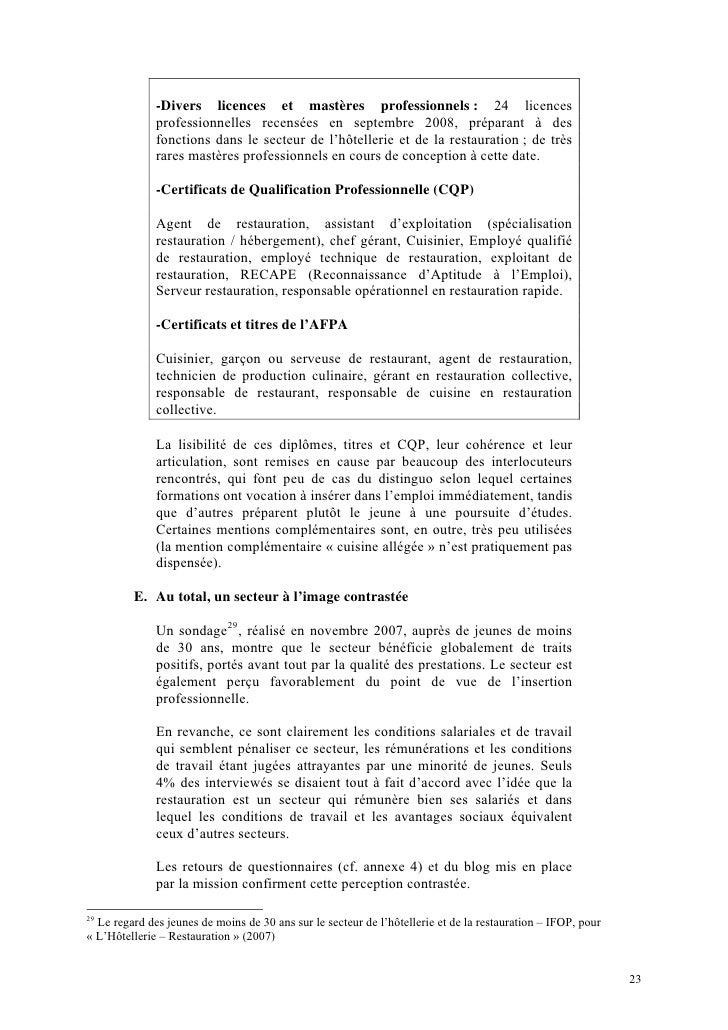 Rapport marcon l 39 alternance dans le secteur de la for Emploi responsable de restauration collective