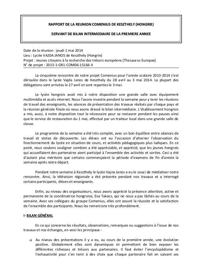 RAPPORT DE LA REUNION COMENIUS DE KESZTHELY (HONGRIE)RAPPORT DE LA REUNION COMENIUS DE KESZTHELY (HONGRIE) SERVANT DE BILA...