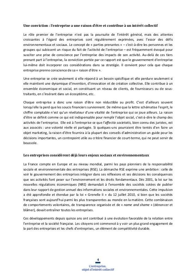 Rapport Notat Senard Sur L Objet Social De L Entreprise