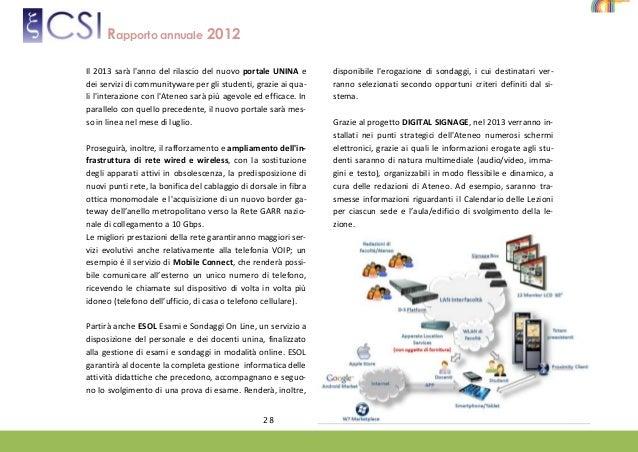 Calendario Esami Ingegneria Informatica Unina.Rapporto Annuale 2012 Del Csi Centro Servizi Informativi