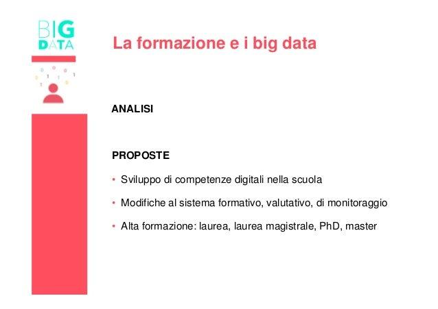 La formazione e i big data ANALISI PROPOSTE • Sviluppo di competenze digitali nella scuola • Modifiche al sistema formativ...