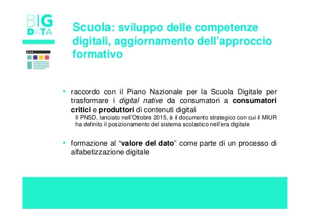 Scuola: sviluppo delle competenze digitali, aggiornamento dell'approccio formativo • raccordo con il Piano Nazionale per l...