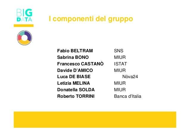 I componenti del gruppo Fabio BELTRAM SNS Sabrina BONO MIUR Francesco CASTANÒ ISTAT Davide D'AMICO MIUR Luca DE BIASE Nòva...