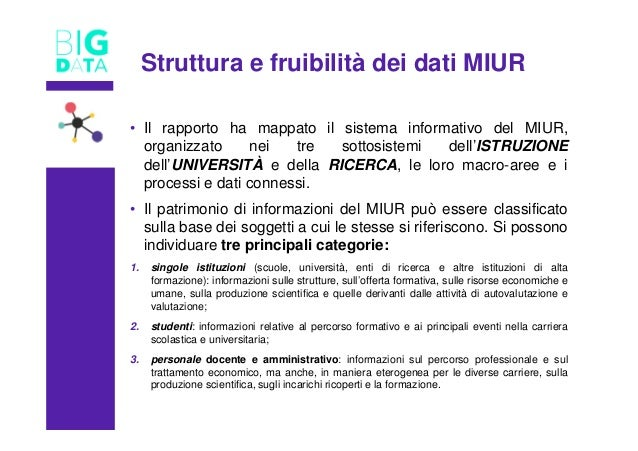 TITOLO • Il rapporto ha mappato il sistema informativo del MIUR, organizzato nei tre sottosistemi dell'ISTRUZIONE dell'UNI...