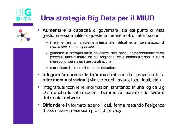 Una strategia Big Data per il MIUR • Aumentare la capacità di governare, sia dal punto di vista gestionale sia analitico, ...