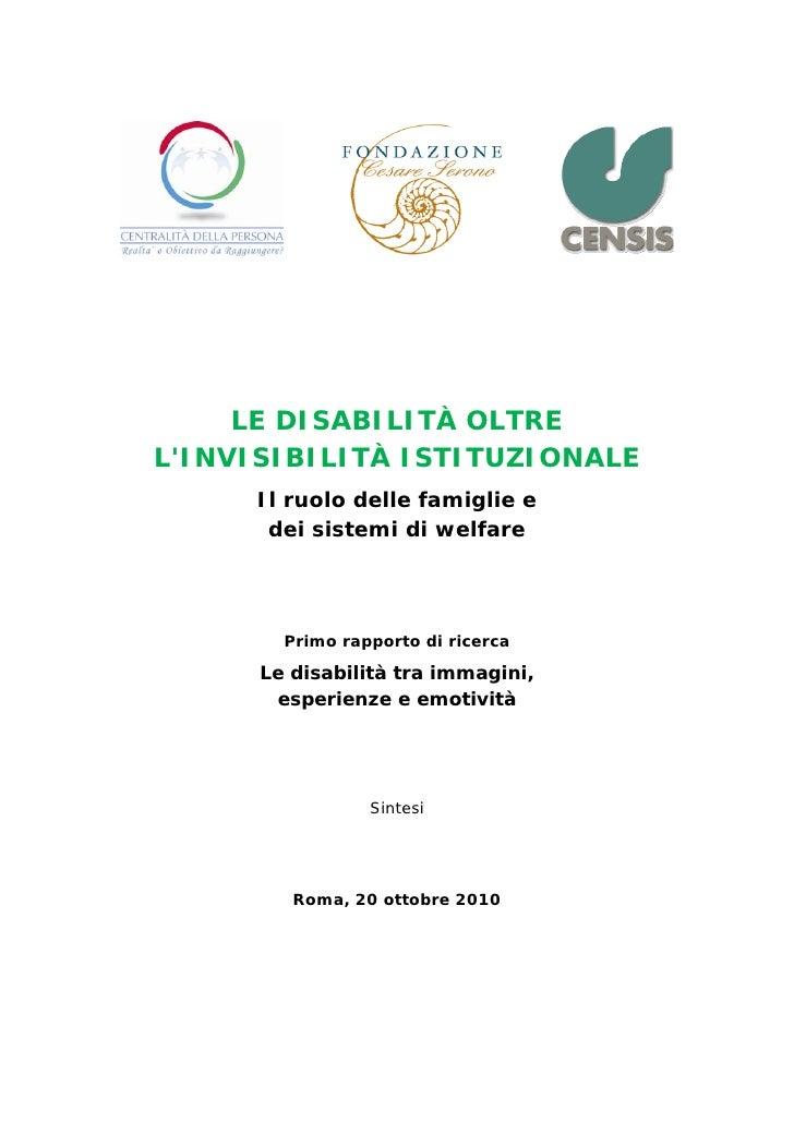 Rapporto Censis sulla disabilità in italia