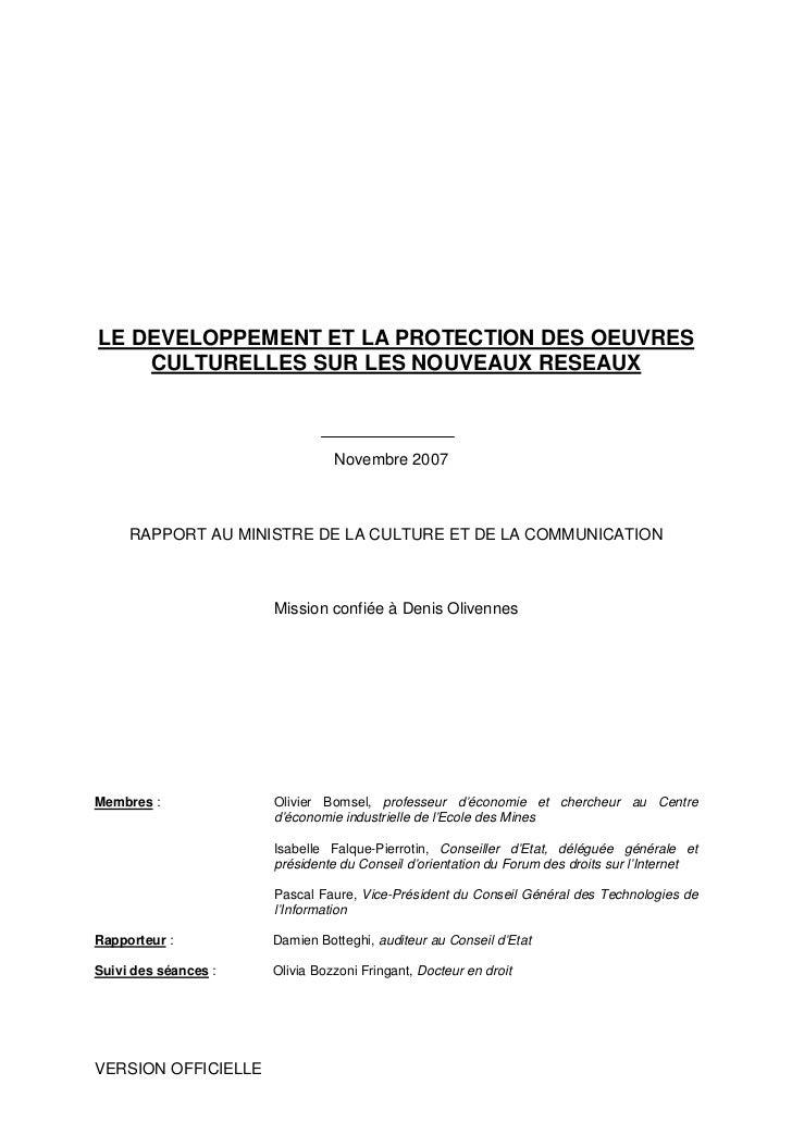 LE DEVELOPPEMENT ET LA PROTECTION DES OEUVRES     CULTURELLES SUR LES NOUVEAUX RESEAUX                                    ...