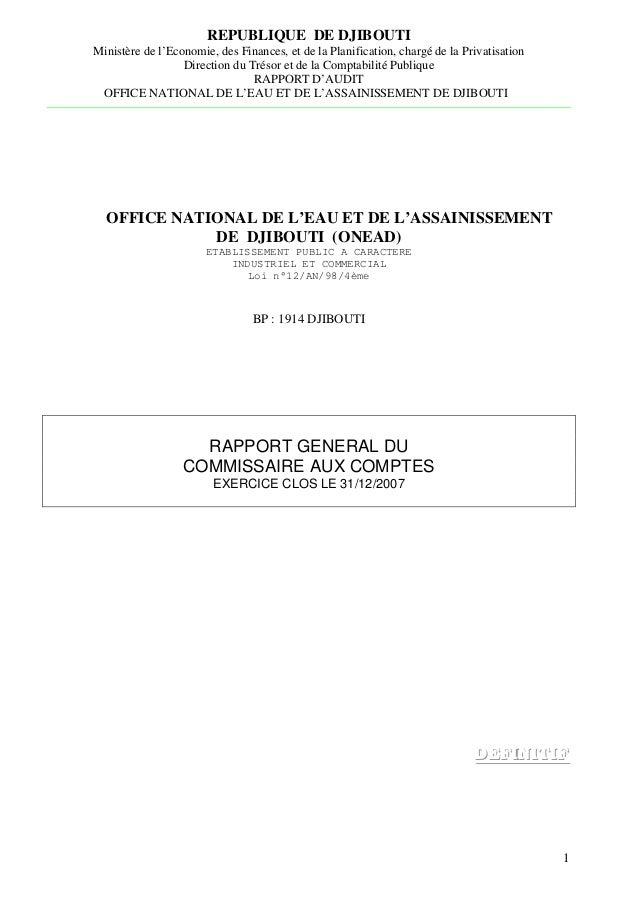 REPUBLIQUE DE DJIBOUTI Ministère de l'Economie, des Finances, et de la Planification, chargé de la Privatisation Direction...