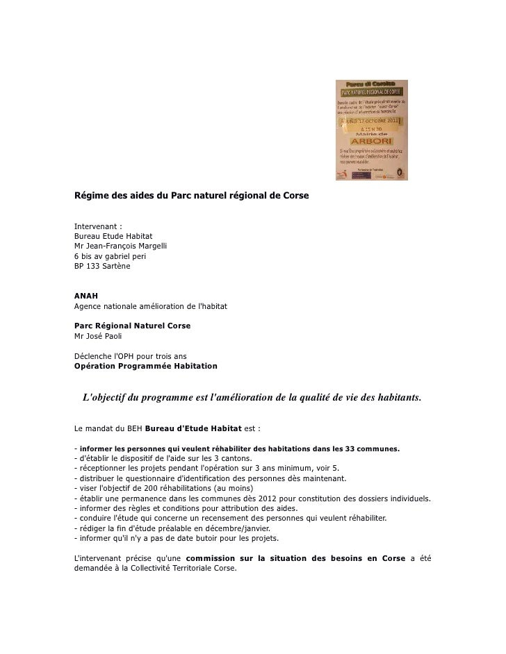 Régime des aides du Parc naturel régional de CorseIntervenant :Bureau Etude HabitatMr Jean-François Margelli6 bis av gabri...