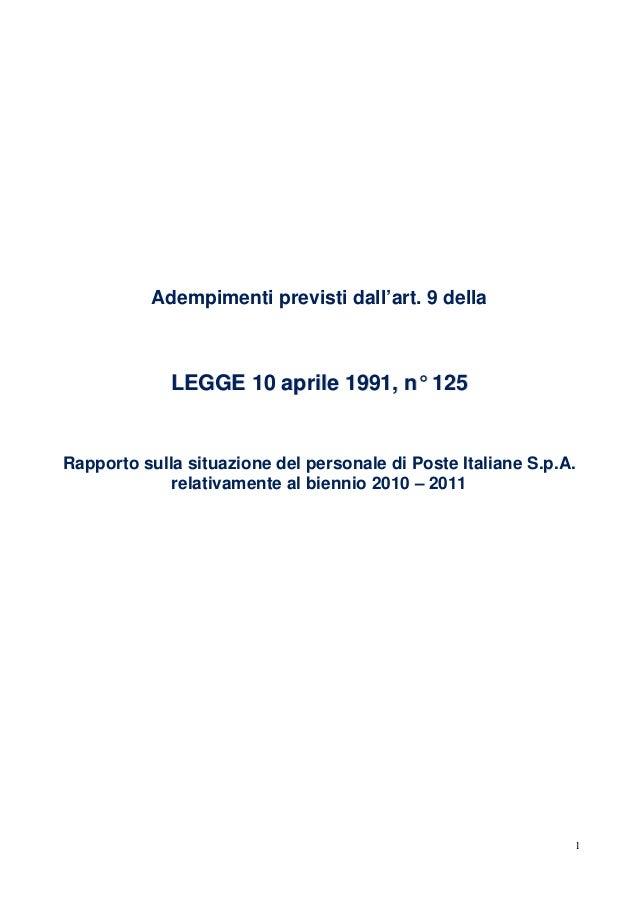 Adempimenti previsti dall'art. 9 della             LEGGE 10 aprile 1991, n° 125Rapporto sulla situazione del personale di ...