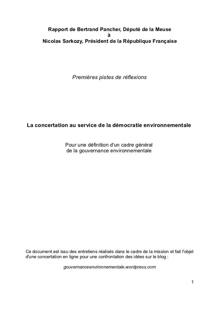 Rapport de Bertrand Pancher, Député de la Meuse                                  à        Nicolas Sarkozy, Président de la...
