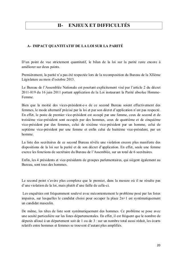 II-  ENJEUX ET DIFFICULTÉS  A- IMPACT QUANTITATIF DE LA LOI SUR LA PARITÉ  D'un point de vue strictement quantitatif, le b...