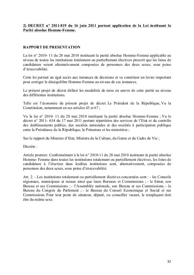 2) DECRET n° 2011-819 du 16 juin 2011 portant application de la Loi instituant la Parité absolue Homme-Femme.  RAPPORT DE ...