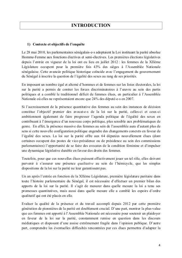 INTRODUCTION  1) Contexte et objectifs de l'enquête Le 28 mai 2010, les parlementaires sénégalais-e-s adoptaient la Loi in...