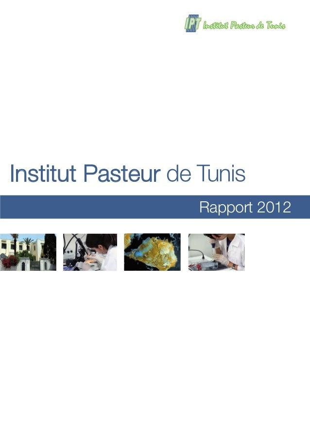 Rapport 2012 Institut Pasteur de Tunis
