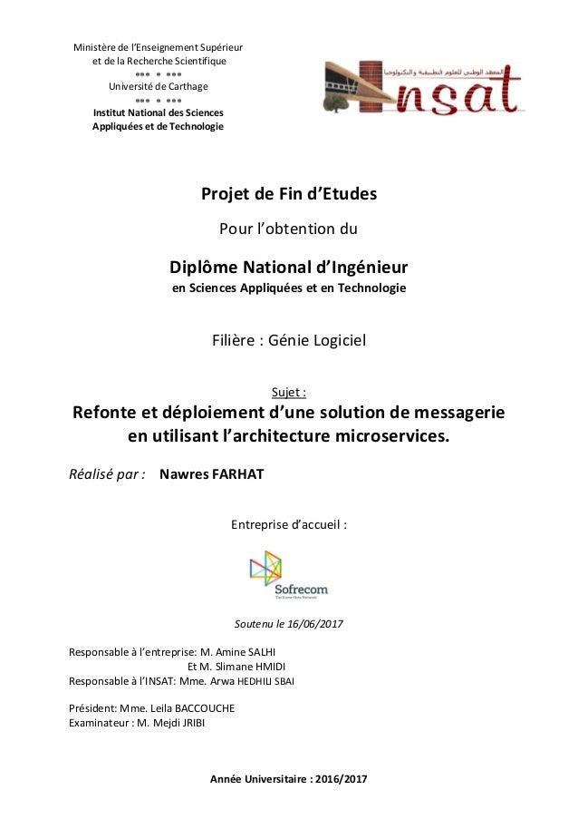 Ministère de l'Enseignement Supérieur et de la Recherche Scientifique    Université de Carthage    Institut ...