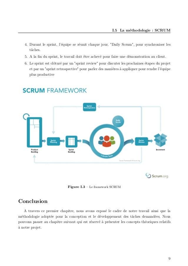 """I.5 La méthodologie : SCRUM 4. Durant le sprint, l'équipe se réunit chaque jour, """"Daily Scrum"""", pour synchroniser les tâch..."""
