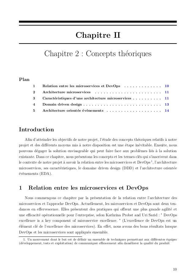 Chapitre II Chapitre 2 : Concepts théoriques Plan 1 Relation entre les microservices et DevOps . . . . . . . . . . . . . 1...