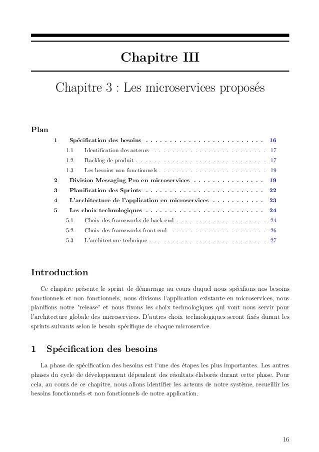 Chapitre III Chapitre 3 : Les microservices proposés Plan 1 Spécification des besoins . . . . . . . . . . . . . . . . . . ....