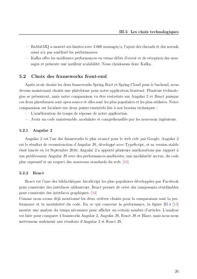 III.5 Les choix technologiques — RabbitMQ a montré ses limites avec 3 600 messages/s, l'ajout des threads et des noeuds au...
