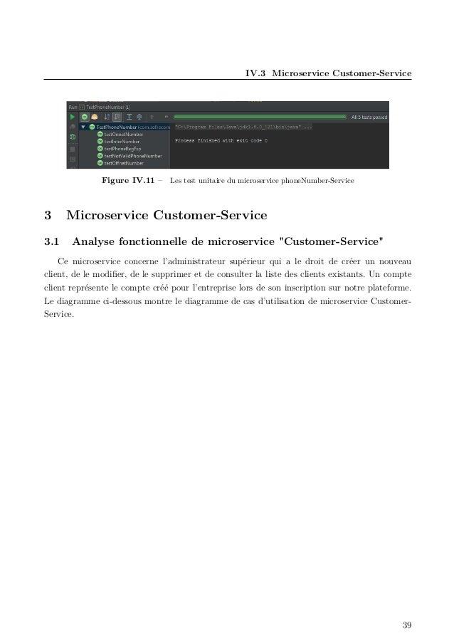 IV.3 Microservice Customer-Service Figure IV.11 – Les test unitaire du microservice phoneNumber-Service 3 Microservice Cus...