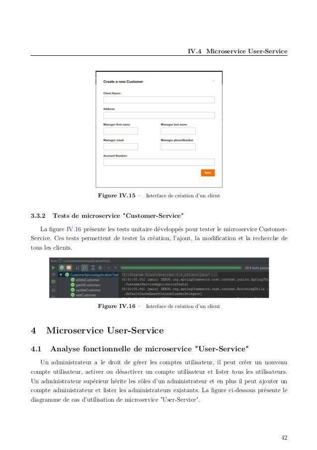 """IV.4 Microservice User-Service Figure IV.15 – Interface de création d'un client 3.3.2 Tests de microservice """"Customer-Serv..."""