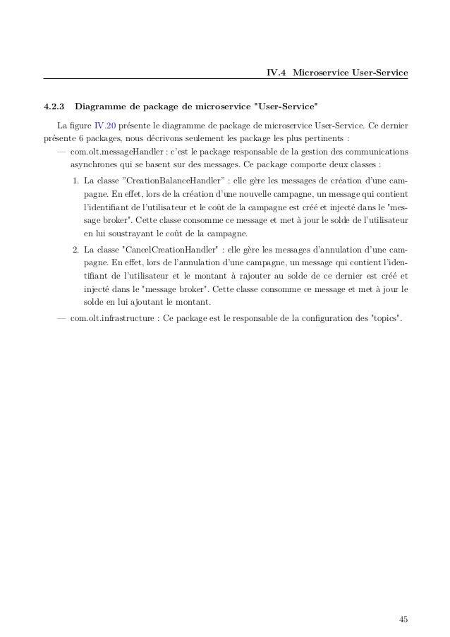 """IV.4 Microservice User-Service 4.2.3 Diagramme de package de microservice """"User-Service"""" La figure IV.20 présente le diagra..."""