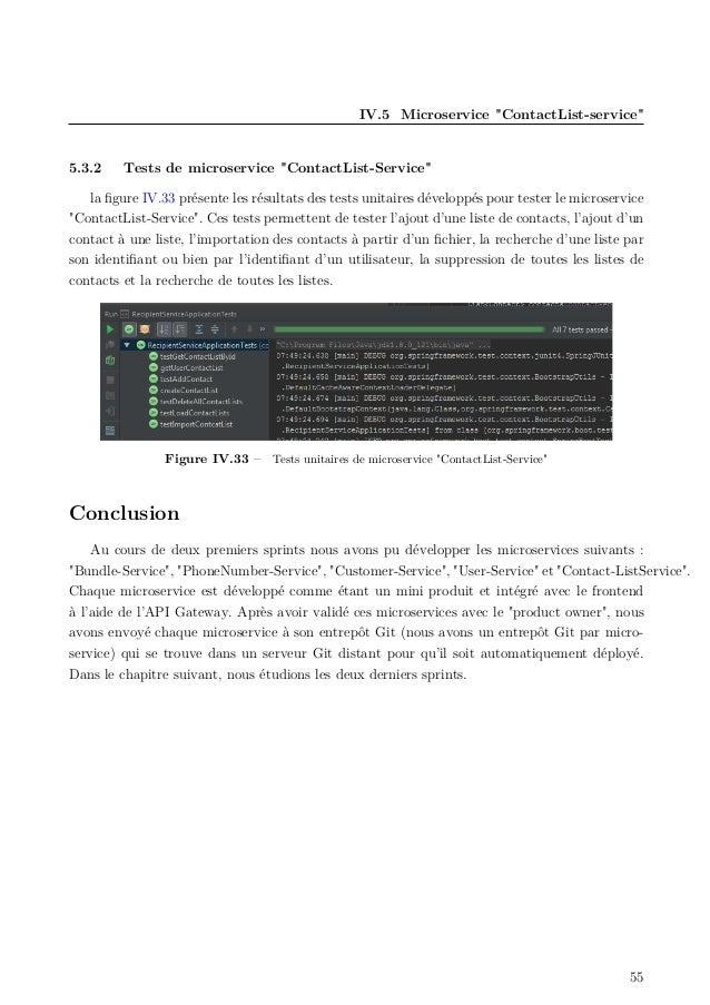 """IV.5 Microservice """"ContactList-service"""" 5.3.2 Tests de microservice """"ContactList-Service"""" la figure IV.33 présente les résu..."""