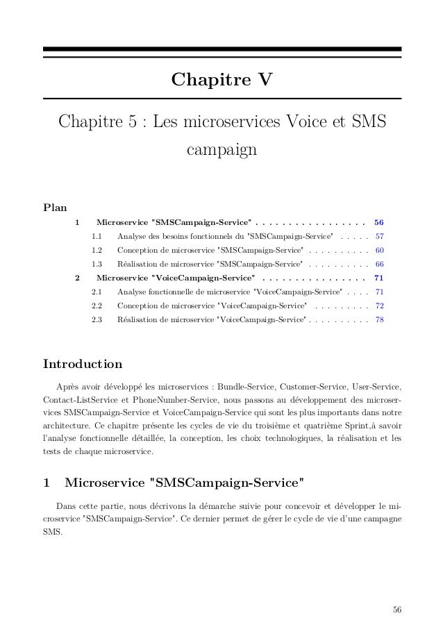 """Chapitre V Chapitre 5 : Les microservices Voice et SMS campaign Plan 1 Microservice """"SMSCampaign-Service"""" . . . . . . . . ..."""