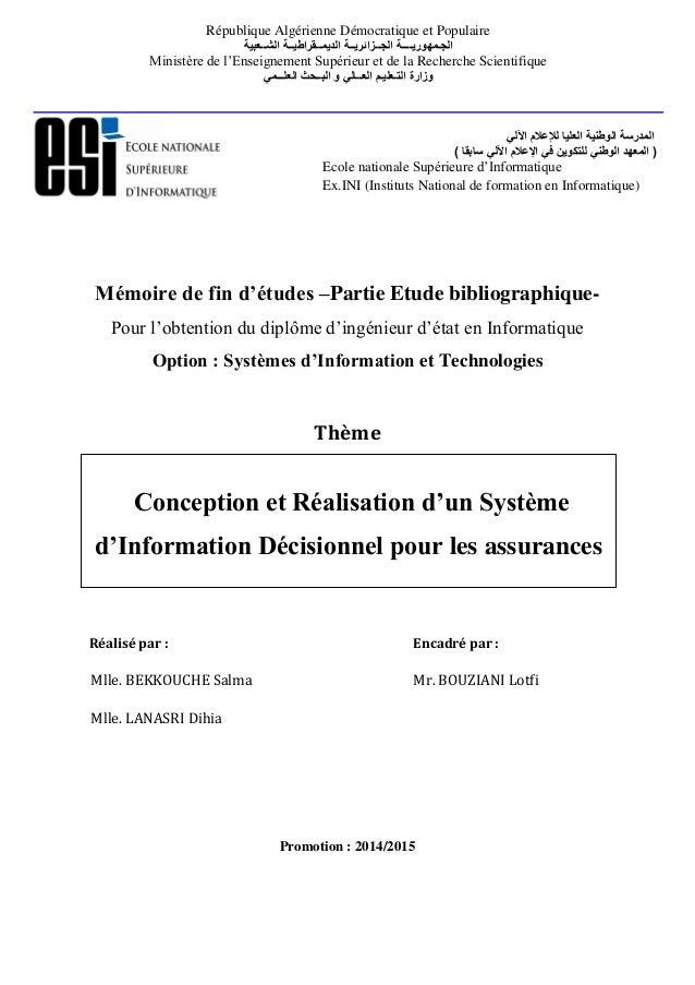 Mémoire de fin d'études –Partie Etude bibliographique- Pour l'obtention du diplôme d'ingénieur d'état en Informatique Opti...