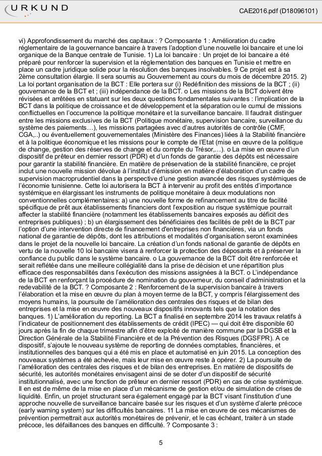 vi) Approfondissement du marché des capitaux : ? Composante 1 : Amélioration du cadre réglementaire de la gouvernance banc...