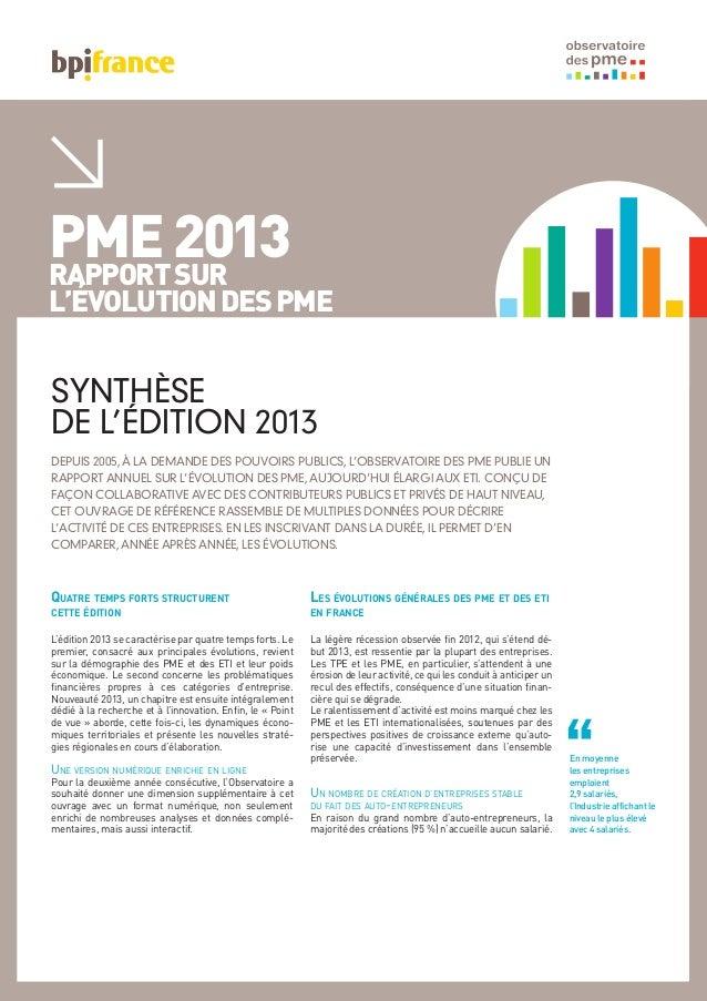 PME2013RAPPORTSUR L'ÉVOLUTIONDESPME DEPUIS 2005, À LA DEMANDE DES POUVOIRS PUBLICS, L'OBSERVATOIRE DES PME PUBLIE UN RAPPO...