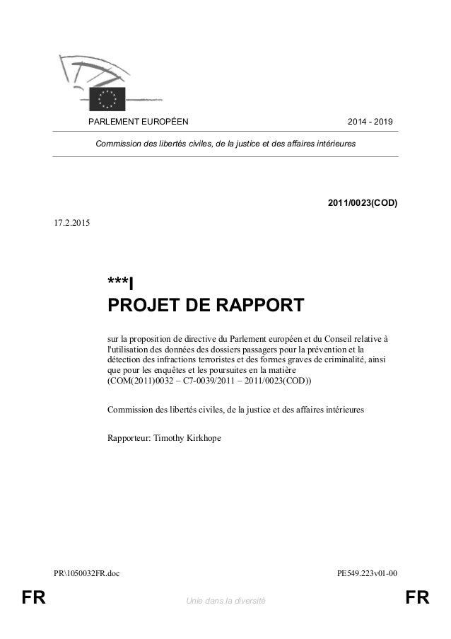 PR1050032FR.doc PE549.223v01-00 FR Unie dans la diversité FR PARLEMENT EUROPÉEN 2014 - 2019 Commission des libertés civile...