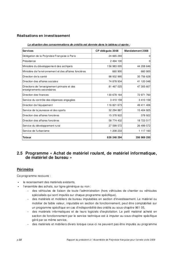 Rapport du pr sident l 39 assembl e de polyn sie fran aise - Materiel de bureau comptabilite ...