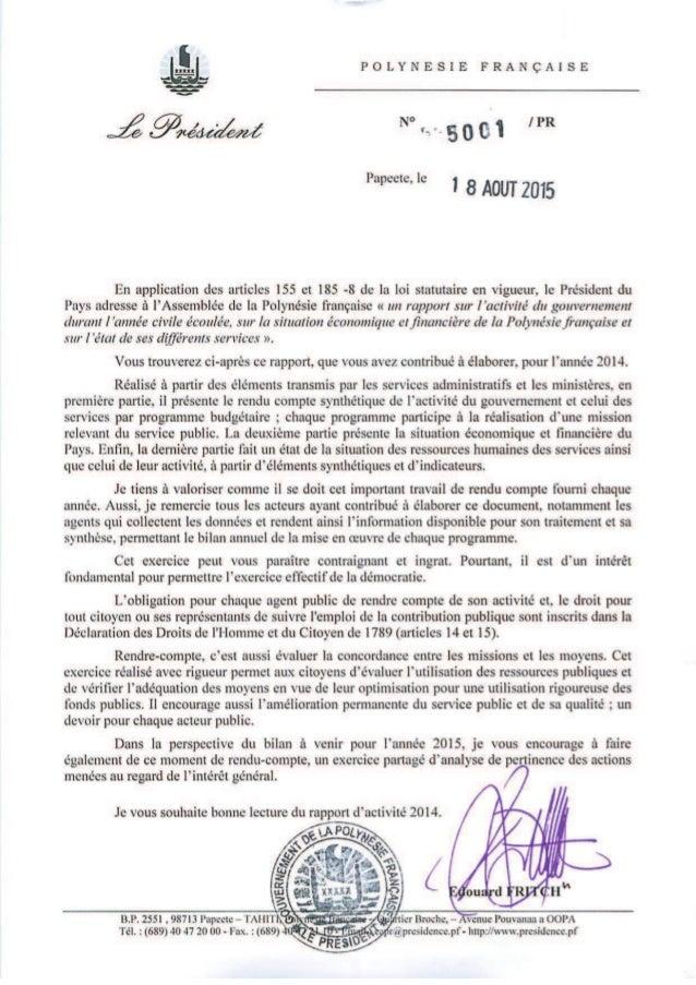 P O L Y N E S I E F R A N C A I S E RAPPORT du PRESIDENT DE LA POLYNESIE FRANÇAISE à L'ASSEMBLEE DE LA POLYNESIE FRANÇAISE...