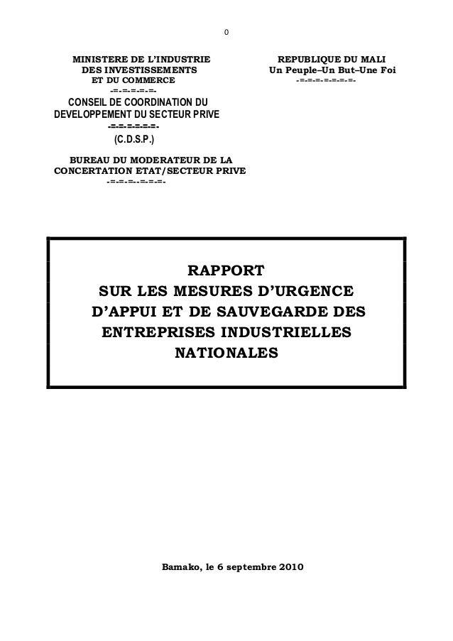 0MINISTERE DE L'INDUSTRIE REPUBLIQUE DU MALIDES INVESTISSEMENTS Un Peuple–Un But–Une FoiET DU COMMERCE -=-=-=-=-=-=-=--=-=...