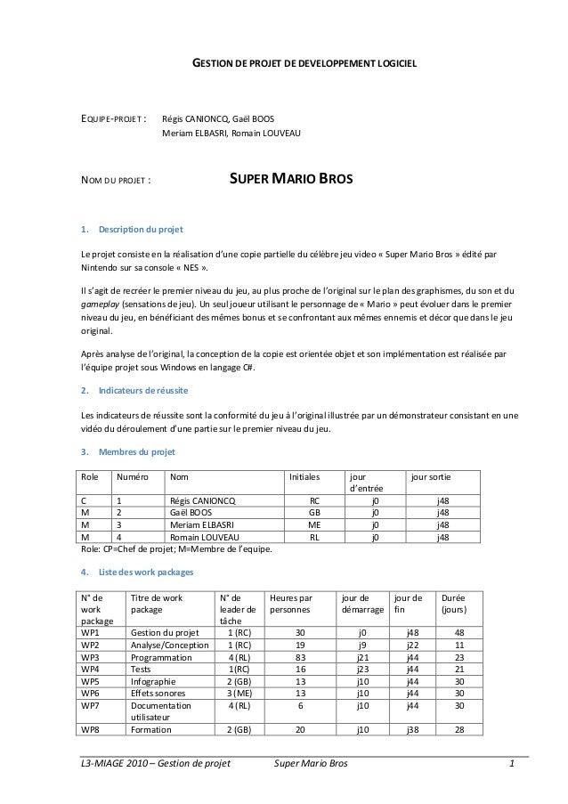 GESTION DE PROJET DE DEVELOPPEMENT LOGICIELEQUIPE-PROJET :        Régis CANIONCQ, Gaël BOOS                       Meriam E...