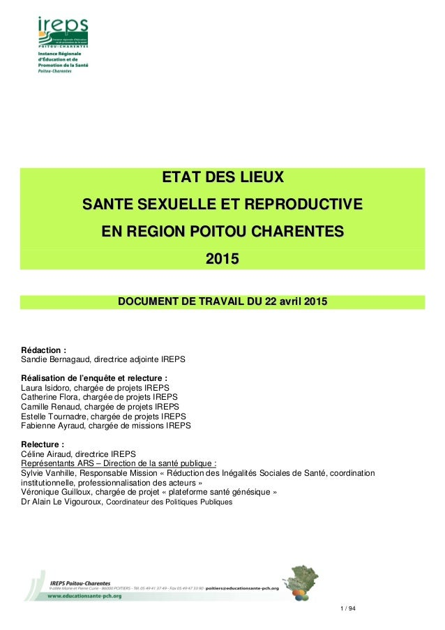 1 / 94 EETTAATT DDEESS LLIIEEUUXX SSAANNTTEE SSEEXXUUEELLLLEE EETT RREEPPRROODDUUCCTTIIVVEE EENN RREEGGIIOONN PPOOIITTOOUU...
